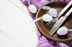 Festive table setting for Easter dinner with eggs Stock Image