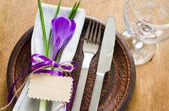 Festive Table Setting With Flower and Empty Card. Stock Images