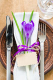 Festive Table Setting With Flower and Empty Tag. Stock Photography