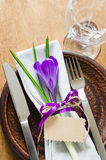 Festive Table Setting With Flower and Empty Tag. Stock Photos
