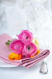 Festive table setting with flowers Royalty Free Stock Images