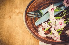 Festive table setting with flowers. Holiday table set for mother`s day or birthday. Selective focus Stock Images
