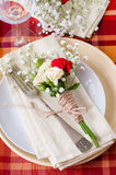 Festive table setting with flowers and vintage crockery, closeup Stock Image