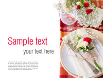 Festive table setting with flowers and vintage crockery, ready t Stock Image