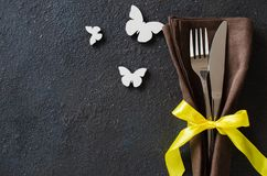 Festive table setting for Holiday Easter dinner, Birthday or Mother`s day. On dark table stock images