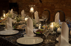 Festive party table setting Royalty Free Stock Photos