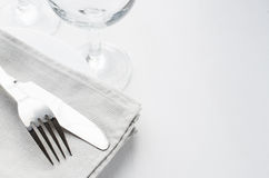 Festive Table Setting With Napkin and Cutlery. Royalty Free Stock Photography