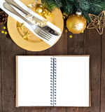 Festive table setting with notebook Royalty Free Stock Photography
