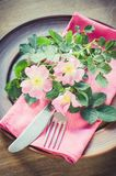 Festive Table setting with pink flowers. Royalty Free Stock Photography