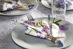 Festive table setting. Plate, glasses. Napkins Royalty Free Stock Image