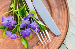 Festive Table setting with purple flowers. Festive Table setting with delicate purple flowers. Holiday Table Set for Mother`s Day or Birthday. Selective Focus Royalty Free Stock Images