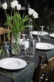 Festive table setting ready for guests. royalty free stock images