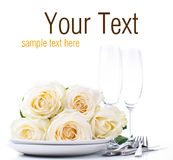 Festive table setting ready template Stock Images