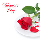 Festive table setting with red rose and heart. Isolated Royalty Free Stock Photos