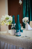 Festive table setting in the restaurant with flowers Stock Images