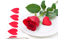 Festive table setting with rose and heart Royalty Free Stock Image