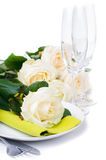Festive table setting with roses Stock Image