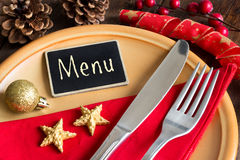 Festive table setting with small chalkboard Royalty Free Stock Photography