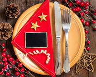 Festive table setting with small chalkboard Stock Photography