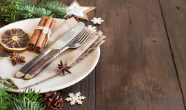 Festive table setting with spices and dried fruits Royalty Free Stock Photography