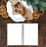 Festive table setting with spices and notebook Royalty Free Stock Photo