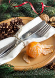 Festive table setting with spices and tangerine Stock Photography