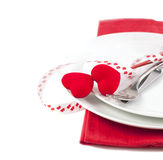 Festive table setting for Valentine's Day Royalty Free Stock Photos