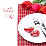 Festive table setting for Valentine's Day with tulips, close-up Royalty Free Stock Photos