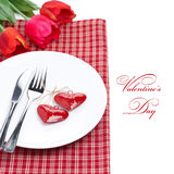 Festive table setting for Valentine's Day with tulips, isolated Royalty Free Stock Images