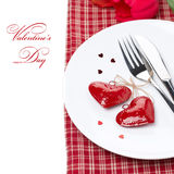 Festive table setting for Valentine's Day,  Royalty Free Stock Photography