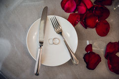 Festive table setting for Valentines Day on light background Royalty Free Stock Photos