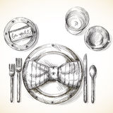 Festive table setting. Vector illustration hand drawn Royalty Free Stock Photography