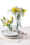 Festive table setting in yellow Stock Image