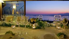 Festive table at sunset. stock video footage