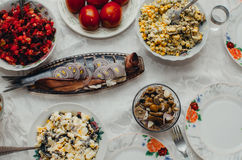 Festive table tasty. The dishes on the table in the eve of the feast, delicious food Stock Photos