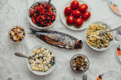Festive table tasty. The dishes on the table in the eve of the feast, delicious food Royalty Free Stock Photos
