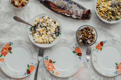 Festive table tasty. The dishes on the table in the eve of the feast, delicious food Stock Images