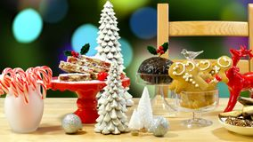 Festive table with traditional English and European style Christmas food. royalty free stock image
