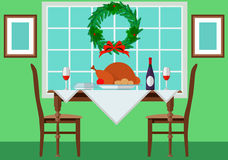 Festive table with turkey and vintage. Eps10  illustration Royalty Free Stock Photo