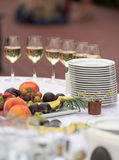 Festive table with utensils and fruit Royalty Free Stock Photography