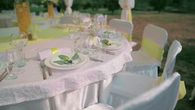 Festive table in wedding day stock video footage