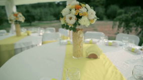 Festive table in wedding day stock footage