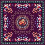 Festive tablecloth or vintage shawl with magical peacock, floral and paisley ornament, decorative border. Indian, persian, turkish, russian motives Royalty Free Stock Photos