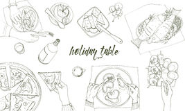 Festive tableful, laid table, holidays hand drawn contour illustration, top view. Background with place for text. Festive tableful, laid table, holidays hand Royalty Free Stock Photo