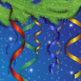 Festive tapes on a fir-tree. On a blue background Royalty Free Stock Image