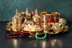 Festive tea table setting Oriental hospitality Ramadan kareem Royalty Free Stock Image
