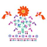 Festive template for embroidery. Flower - Sun, blooming tree, birds and cute cartoon people. Mexican motives. Beautiful vector background - 1 Stock Photos