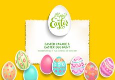 Festive Template poster eggs. Festive Easter eggs background. Easter holiday design for card, banner, ticket, leaflet, poster and so on. Template with space for Stock Photo