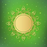 Festive template, snowflake, frame for New Year and Christmas. Gold festive frame, mandala, snowflake on a green background with stars. Template for New Year`s Stock Image