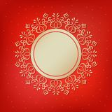 Festive template, snowflake, frame for New Year and Christmas. Gold festive frame, mandala, snowflake on a red background. Template for New Year`s, Christmas Royalty Free Stock Images